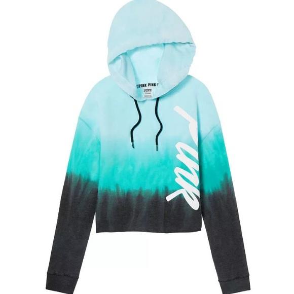 f783d2fd1cc PINK Victoria's Secret Tops | Aqua Tie Dye Cropped Hoodie Pullover ...